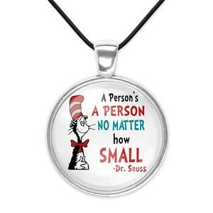 Persons a Person No Matter How Small Dr Seuss Cat Hat Glass Pendant Necklace